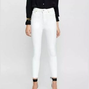 Zara White Premium Denim High Rise White Skinny